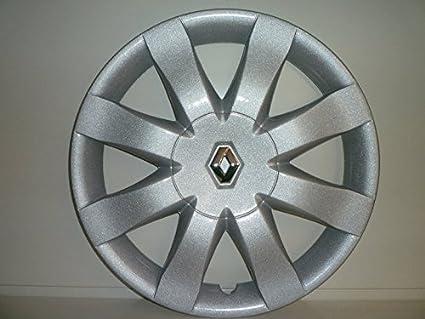 Juego de Tapacubos 4 Tapacubos Diseño New Renault Clio r 15 () Logo Cromado: Amazon.es: Coche y moto