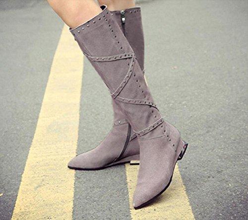 Bootie Martin lato pelle della bassa tacchi ginocchio alti Moda temperamento gray sopra 39 il donna scrub di stivali femminile cerniera tFZvqR