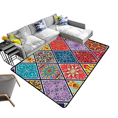 - alsohome Non-Slip Area Rug Pad Mega Geometric Diagonal Pieced Mosaic Tile with Authentic Arabesque Lines Protect Floors and Securing Rug 2' X 4'
