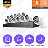 Samsung Wisenet SNK-D85121BF 16 Channel 4MP Super HD PoE NVR Video Security System with 3TB Hard Drive and 12 4MP Weather Resistant Bullet Cameras (SNC-4241BE)