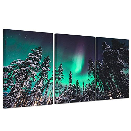 Kreative Arts Northern Lights Canvas Print Norway Nature Green Aurora Borealis Poster Snow Tree Forest Landscape Painting Wall Art Modern Giclee Artwork Ready to Hang 16x24inchx3pcs