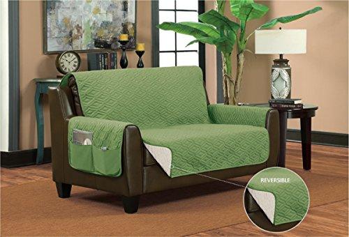 Bella Kline Reversible Sofa Furniture Protector, With 2 Storage Pockets - Sage / Tan