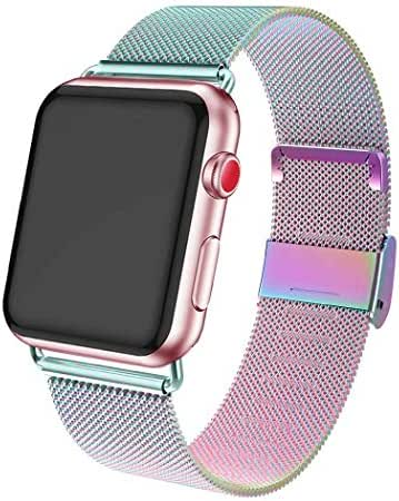 ADWLOF Compatible for Apple Watch Band 38mm 40mm,Stainless Steel Mesh Sport Wristband Loop with Strong Magnetic Closure Strap for iWatch Series 1,2,3,4,5,Colorful