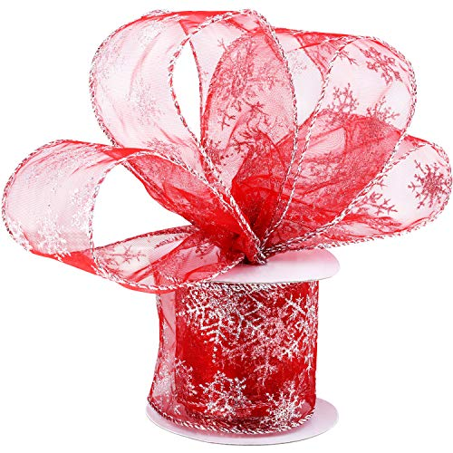 Boao 6.3 cm in Width Organza Ribbon Snowflake Wired Sheer Glitter Ribbon with Spool for Christmas Decoration, Gift Wrapping, Party Decoration (Red, 10 m)
