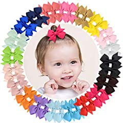 We are devote to offer popular, simple, useful, fashion and durable hair accessories for you.Material: these hair bows are made of grosgrain ribbon, they are environmental, and harmless to everyone.Color: 20pairs(40pcs) different colors, they...
