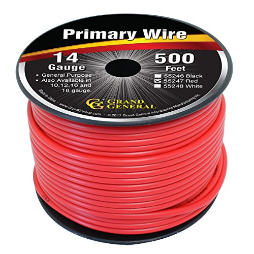 - Grand General 55247 Primary Wire 500ft Roll with Spool For Trucks, Automobile and More - Red