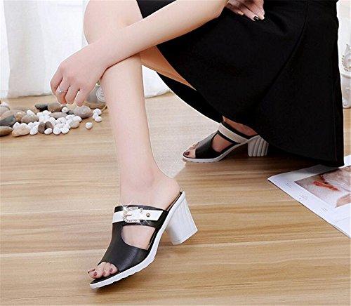 Sandals Rhinestone Summer Buckle Black Fashion Single FORTUN Beach Buckle Shoes Slippers wqRHE