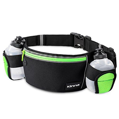 kinna Running Belt Waist Pack With 2 Water Bottles, Water Resistant Reflective Zipper Pack Pouch for Fitness,Workout (Neon Green)