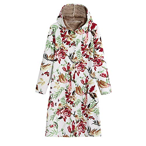 HYIRI ✈ Retro Floral Print Hooded Pock,Womens Winter Warm Outwear Vintage Oversize Coats -