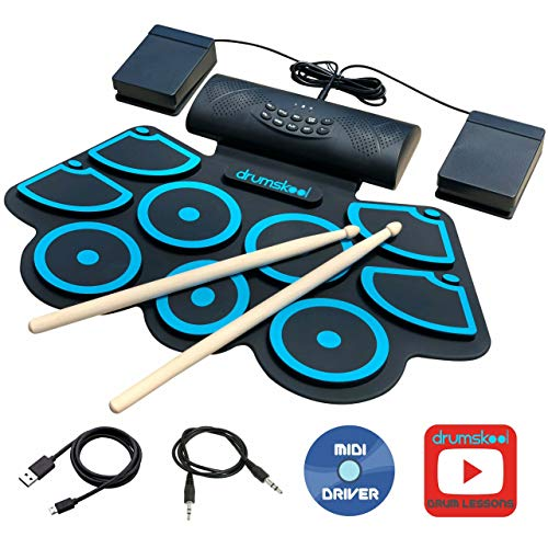Drumskool Electronic Drum Set, MIDI Electric drum kit, Connect your phone to play along with included Drum Lessons, Speakers, Drum Pedals, Drum Sticks, 10 hours play time, Quickstart Guide