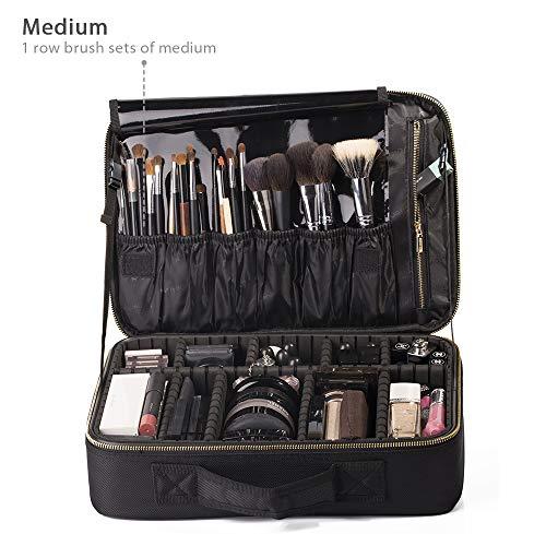 "ROWNYEON Portable EVA Professional Make up Case Makeup Artist Case Makeup Train Case Make Up Artist Organizer Black Bag 14.1""- 14.6"