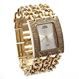 LinTimes G and D Women's Rectangle Shape Three Chains of White Surface With Diamond and Gold Chain Quartz Watch
