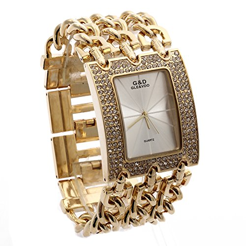 LinTimes G and D Women's Rectangle Shape Three Chains of White Surface With Diamond and Gold Chain Quartz - Mens Watches D&g