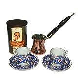 Turkish Coffee World TCW-0008AM Turkish Coffee Set for 2 with Premium Coffee