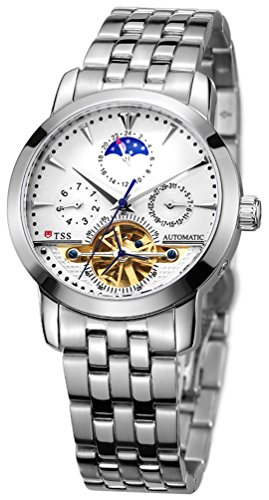 TSS Men's Automatic Skeleton Moonphase Watch Stainless Steel Band T8030C1