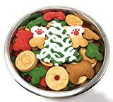 Gourmet Christmas Dog Treats in Stainless Steel Bowl (Large, Standard) For Sale