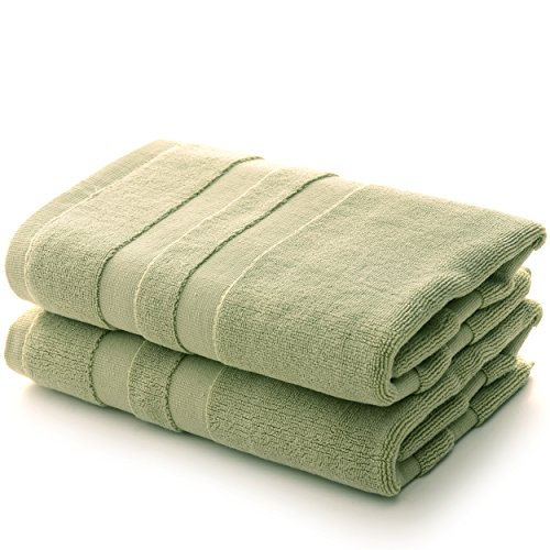 Cheer Collection Set of 2 100% Cotton Super Absorbent Tub Shower Bath Mats (20 inches x 31 inches) - Sage
