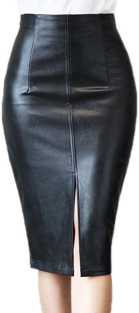 huateng Mujer Falda de Tubo - Cintura Alta Cuero de Imitación Faldas Dividida con Cremallera Moda Slim Fit Midifalda Lápiz