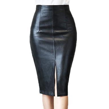 Hibasing Mujer Faldas de Cuero - Elegantes Cintura Alta Slim Fit ...