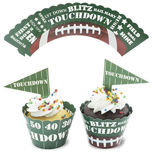 - Juvale 50-Sets Football Cupcake Toppers and Wrappers for Sports Party Decor & Game Day Supplies