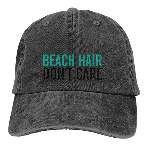 Yuliang Beach Hair Don't Care Cute Funny Fashion Novelty Unisex Adult Adjustable Snapback Cowboy Hat Black -
