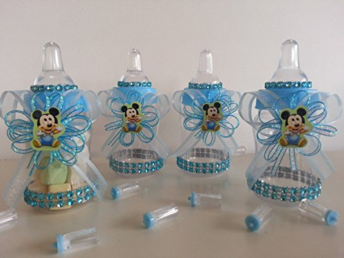12 Baby Mickey Mouse Fillable Bottles Baby Shower Favors Prizes Boy Decorations -