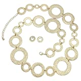 Large Hammered Circles Long Boutique Style Necklace & Earrings Set (Gold Tone)