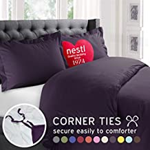 Nestl Bedding Duvet Cover, Protects and Covers your Comforter / Duvet Insert, 100% Super Soft Microfiber, California King Size, Color Purple Eggplant, 3 Piece Duvet Cover Set Includes 2 Pillow Shams