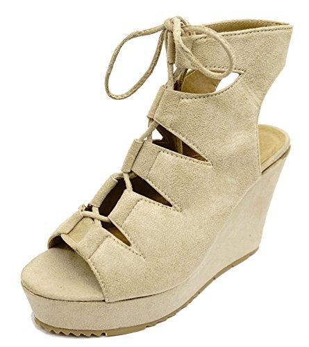 HeelzSoHigh Ladies Nude Lace-Up Wedge High-Heel Platform Peep-Toe Sandals Shoes Sizes 3-8 e23OL71
