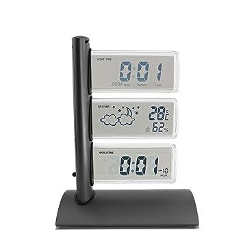 JANEFUJ Digital Alarm Clock LED Pantalla Grande con termómetro, Hora Mundial, Reposo (Color : Black): Amazon.es: Hogar