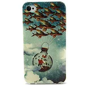 Iphone 4 Case, Flying Fish Clear Bumper Case Silicone Skin Cover for iphone 4S 4