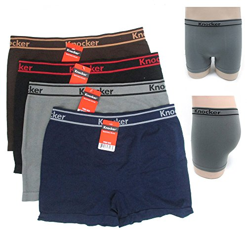 12 Mens Seamless Athletic Compression Boxer Briefs Microfiber Underwear Knocker