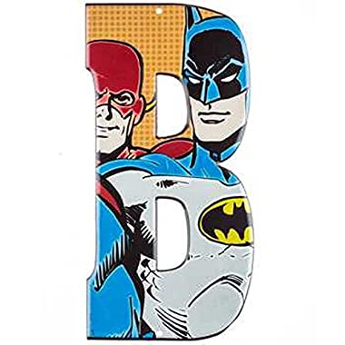 Superhero Marvel & DC Comics Embossed Tin Letter Sign (B (Batman & The Flash))