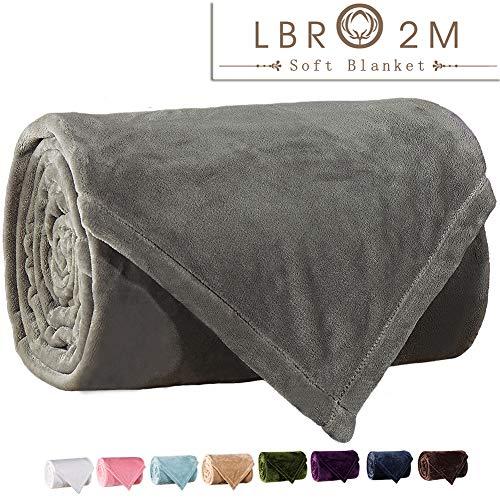 (LBRO2M Fleece Bed Blanket Super Soft Warm Fuzzy Velvet Plush Throw Lightweight Cozy Couch Blankets King(104-Inch-by-90-Inch) Grey)