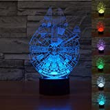 Padaday 3D bulbing Star Wars Millennium Falcon Bedroom Room decorative Night multi 7 color change USB Touch button LED desk table light lamp