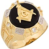 14k Two Tone Gold Onyx White CZ Freemason Masonic Mens Ring