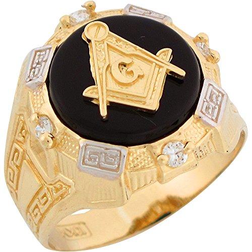 (Jewelry Liquidation 14k Two Tone Gold Onyx White CZ Freemason Masonic Mens Ring)