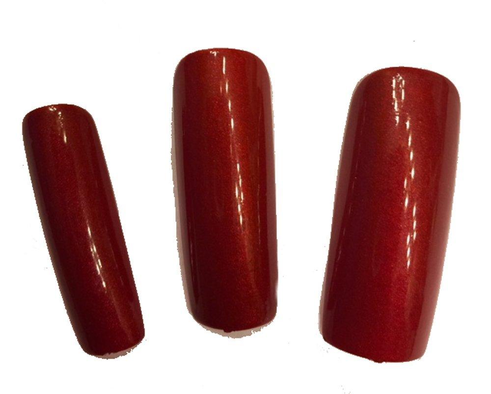 Amazon.com : Extra Wide Red Polished False Nails for Crossdressing ...