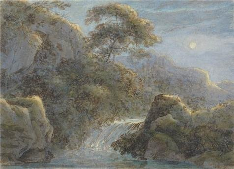 The High Quality Polyster Canvas Of Oil Painting 'Waterfall In The Mountains By Moonlight, 1800 By Franz Innocenz Kobell' ,size: 8x11 Inch / 20x28 Cm ,this Beautiful Art Decorative Prints On Canvas Is Fit For Bar Decoration And Home Decoration And Gifts - Twigs Soap Dispenser
