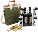wine carrier tote - EVA Molded 3 Bottle Wax Canvas Wine Cooler Bag/Insulated Wine Carrier for Travel/Champagne Carrying Tote/Wine & Cheese Set with 4 Glasses, Wine Opener & Stopper, Bamboo Cheese Board and Knife