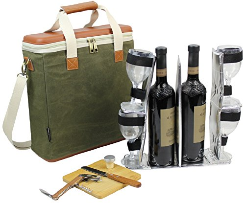 EVA Molded 3 Bottle Wax Canvas Wine Cooler Bag/Insulated Wine Carrier for Travel/Champagne Carrying Tote/Wine & Cheese Set with 4 Glasses, Wine Opener & Stopper, Bamboo Cheese Board and Knife by HappyPicnic