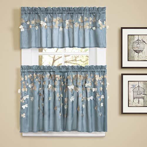 Superieur Amazon.com: Lush Decor Flower Drops Kitchen Valance, Blue: Home U0026 Kitchen