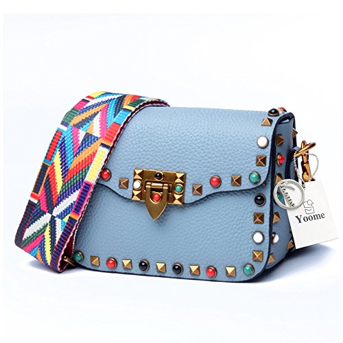 Yoome Mini Crossbody Bag Designer Clutch for Women Rivets Bags with Colorful Strap Cowhide Leather Shoulder Bag for Girls - Blue (Best Designer Clutch Bags)