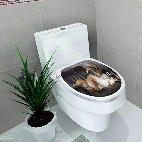 - Home Decoration Humorous Photograph of English Bulldog Resting in a Black Leather Chair with a cigarand Glass Toilet Cover Stickers W13 x L13