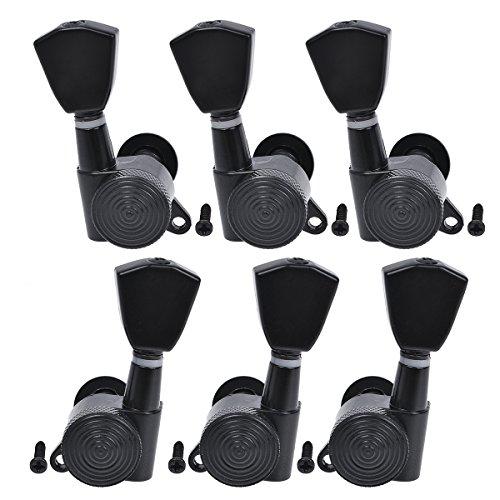 Kmise Acoustic Pegs Locking Tuners Machine Heads 3L3R Black 1 Set Electric Guitar Tuning Key - Locking Ltd Tuners