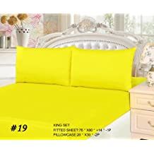 Tache 3 Piece 100% Cotton Solid Neon Yellow Deep Pocket Fitted Bed Sheet Set, King