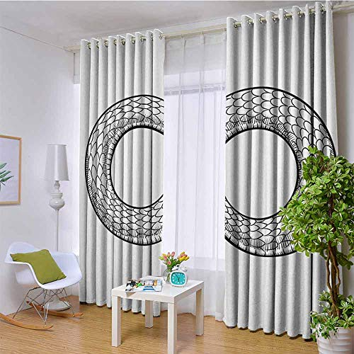 Medieval Decor Collection 100% blackout lining curtain Illustration of Snake Curled in Infinity Ring Middle Age Masonic Symbol Art Sketch Full shading treatment kitchen insulation curtain W108 x L108 (Disney Infinity Triple Pack)