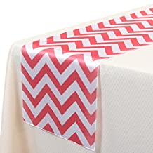 VEEYOO 14x108 Inch Satin Chevron Wedding Party Table Runner Cloth Cover Coral