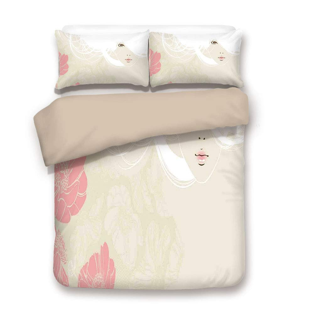 Kq17 Full Duvet Cover Set,Back of Khaki,Girls,Woman Figure Furry Hat and Floral Dress Nostalgic Magazine Catwalk Look Feminine Decorative,Fuchsia Black,Decorative 3 Pcs Bedding Set by 2 Pillow Shams,Queen