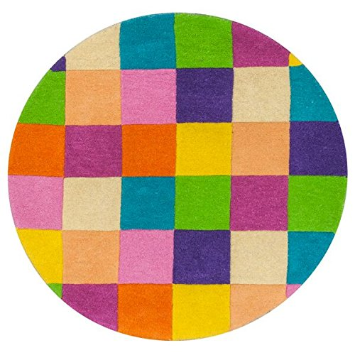 KAS Rugs KID04203X3RO Kidding Around Collection Girl-Feet S Color Blocks Round Area Rug, 3-Feet